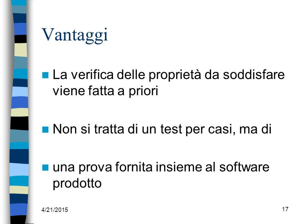 4/21/2015 17 Vantaggi La verifica delle proprietà da soddisfare viene fatta a priori Non si tratta di un test per casi, ma di una prova fornita insieme al software prodotto