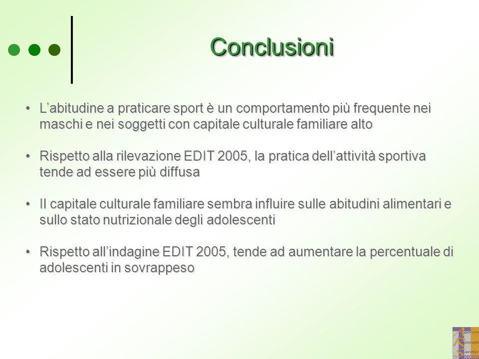 ConclusioniConclusioni L'abitudine a praticare sport è un comportamento più frequente nei maschi e nei soggetti con capitale culturale familiare alto