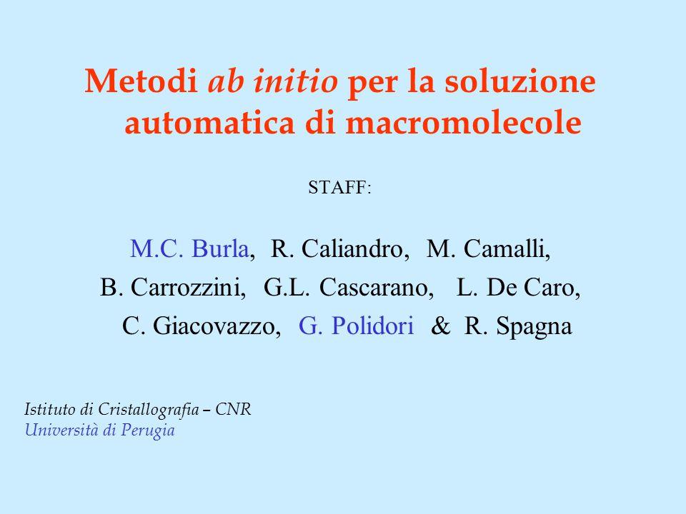 Metodi ab initio per la soluzione automatica di macromolecole STAFF: M.C. Burla, R. Caliandro, M. Camalli, B. Carrozzini, G.L. Cascarano, L. De Caro,