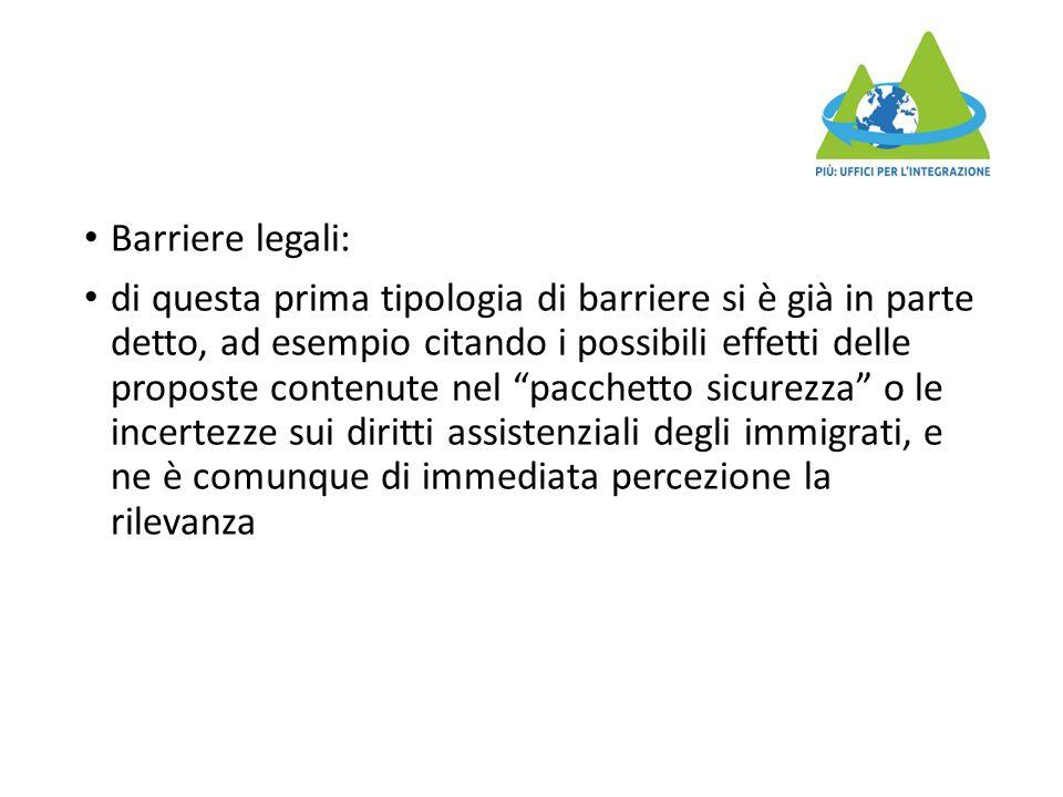 """Barriere legali: di questa prima tipologia di barriere si è già in parte detto, ad esempio citando i possibili effetti delle proposte contenute nel """"p"""
