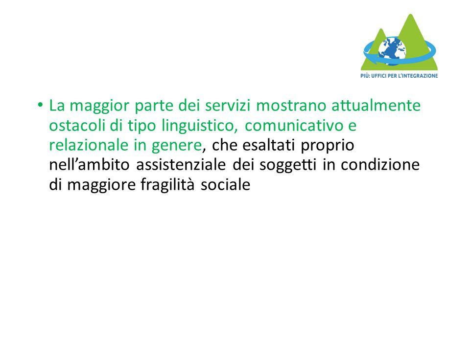La maggior parte dei servizi mostrano attualmente ostacoli di tipo linguistico, comunicativo e relazionale in genere, che esaltati proprio nell'ambito
