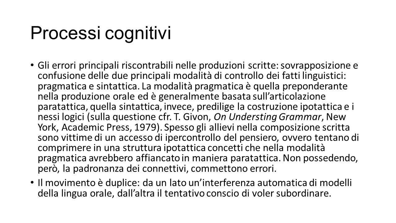 Processi cognitivi Gli errori principali riscontrabili nelle produzioni scritte: sovrapposizione e confusione delle due principali modalità di controllo dei fatti linguistici: pragmatica e sintattica.