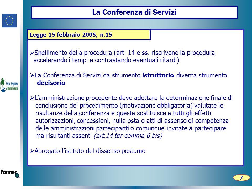 La Conferenza di Servizi  Snellimento della procedura (art.