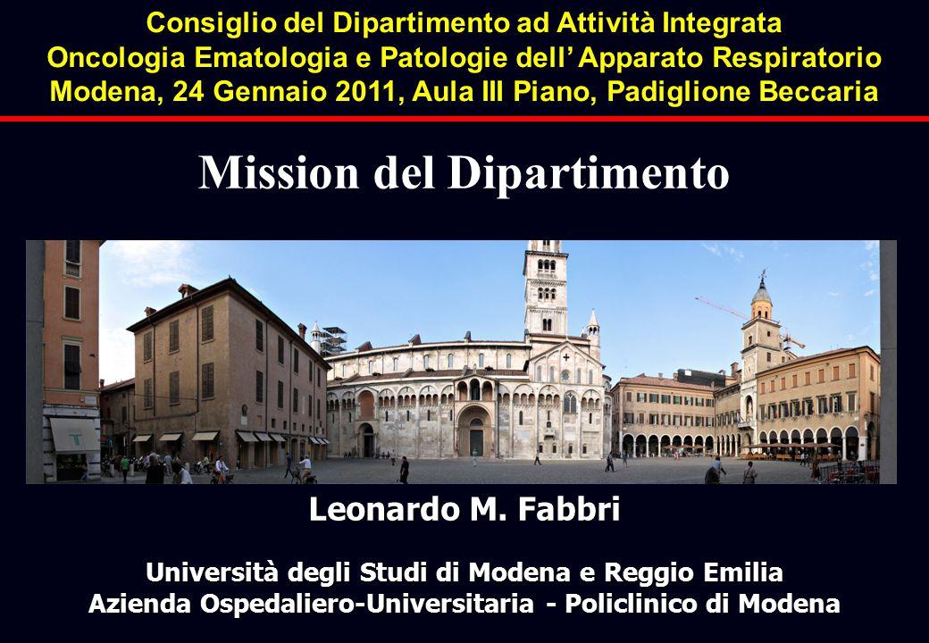 Leonardo M. Fabbri Università degli Studi di Modena e Reggio Emilia Azienda Ospedaliero-Universitaria - Policlinico di Modena Mission del Dipartimento