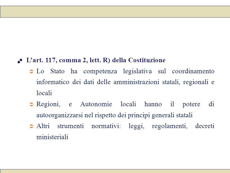  L'art. 117, comma 2, lett. R) della Costituzione  Lo Stato ha competenza legislativa sul coordinamento informatico dei dati delle amministrazioni s