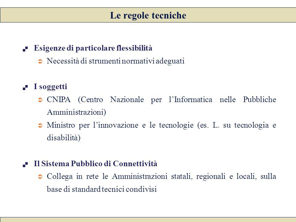  Esigenze di particolare flessibilità  Necessità di strumenti normativi adeguati  I soggetti  CNIPA (Centro Nazionale per l'Informatica nelle Pubb