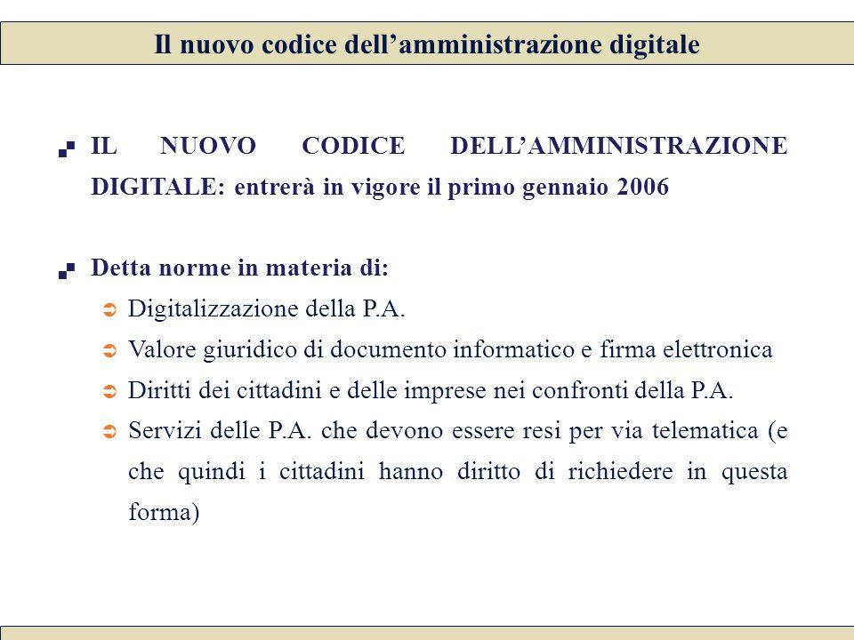  IL NUOVO CODICE DELL'AMMINISTRAZIONE DIGITALE: entrerà in vigore il primo gennaio 2006  Detta norme in materia di:  Digitalizzazione della P.A.