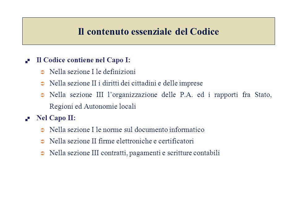  Il Codice contiene nel Capo I:  Nella sezione I le definizioni  Nella sezione II i diritti dei cittadini e delle imprese  Nella sezione III l'org