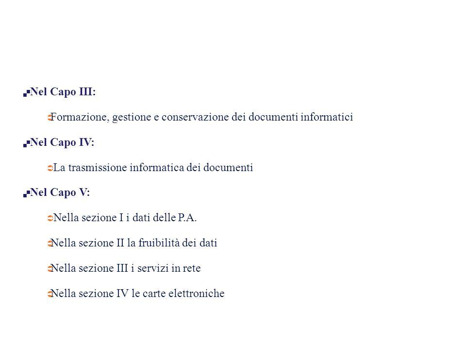  Nel Capo III:  Formazione, gestione e conservazione dei documenti informatici  Nel Capo IV:  La trasmissione informatica dei documenti  Nel Capo