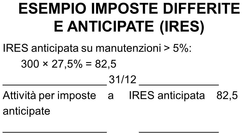 ESEMPIO IMPOSTE DIFFERITE E ANTICIPATE (IRES) IRES anticipata su manutenzioni > 5%: 300 × 27,5% = 82,5 _________________ 31/12 _____________ Attività