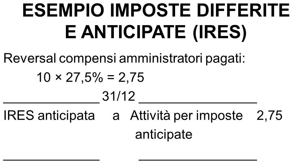 ESEMPIO IMPOSTE DIFFERITE E ANTICIPATE (IRES) Reversal compensi amministratori pagati: 10 × 27,5% = 2,75 _____________ 31/12 ________________ IRES ant