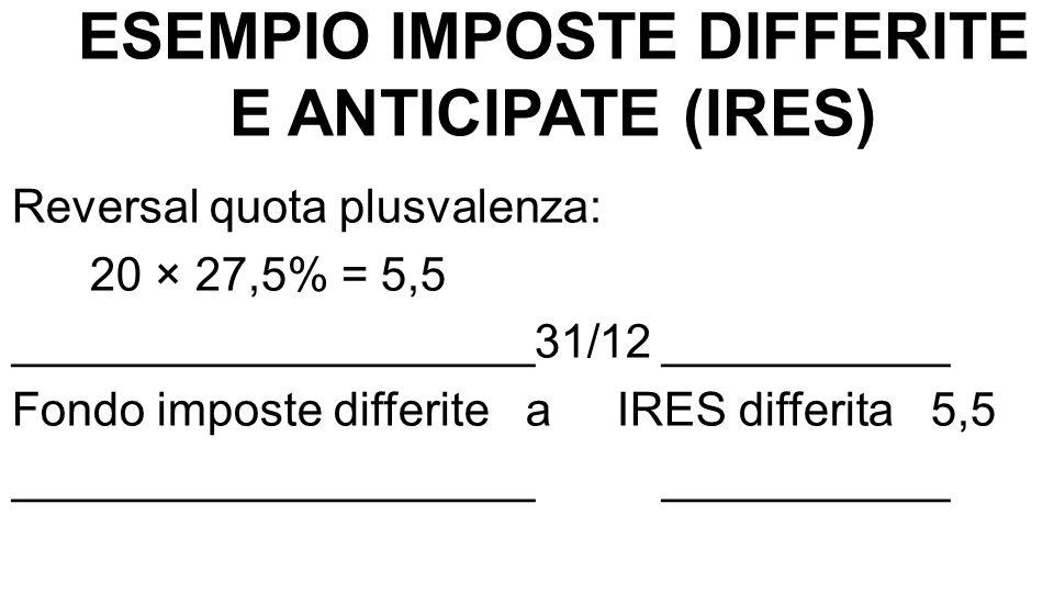 ESEMPIO IMPOSTE DIFFERITE E ANTICIPATE (IRES) Reversal quota plusvalenza: 20 × 27,5% = 5,5 ____________________31/12 ___________ Fondo imposte differi
