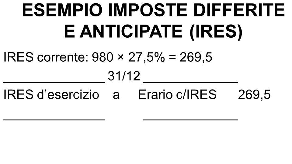 ESEMPIO IMPOSTE DIFFERITE E ANTICIPATE (IRES) IRES differita su 4/5 plusvalenza: 80 × 27,5% = 22 ____________ 31/12 ____________________ IRES differita a Fondo imposte differite 22 ____________ ____________________