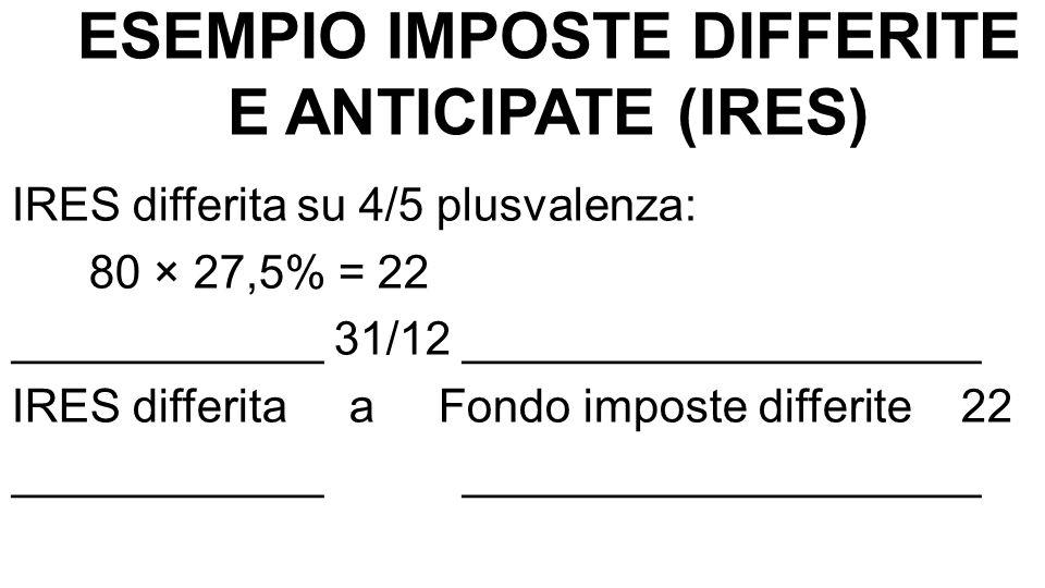 ESEMPIO IMPOSTE DIFFERITE E ANTICIPATE (IRES) IRES differita su 4/5 plusvalenza: 80 × 27,5% = 22 ____________ 31/12 ____________________ IRES differit