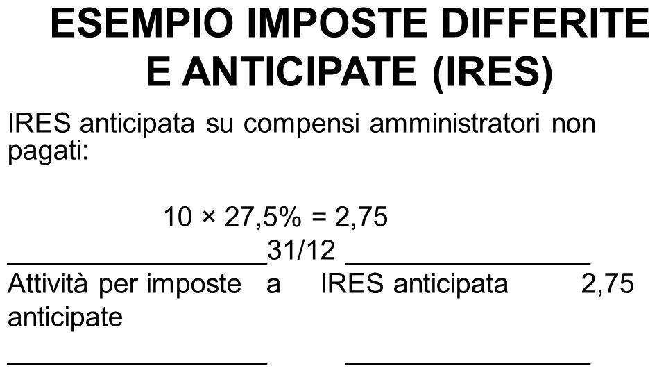 ESEMPIO IMPOSTE DIFFERITE E ANTICIPATE (IRES) IRES DI COMPETENZA ANNO n (VOCE 22 C.E.): a)IRES corrente 269,50 b)IRES differita 22,00 c)IRES anticipata - 2,75 288,75