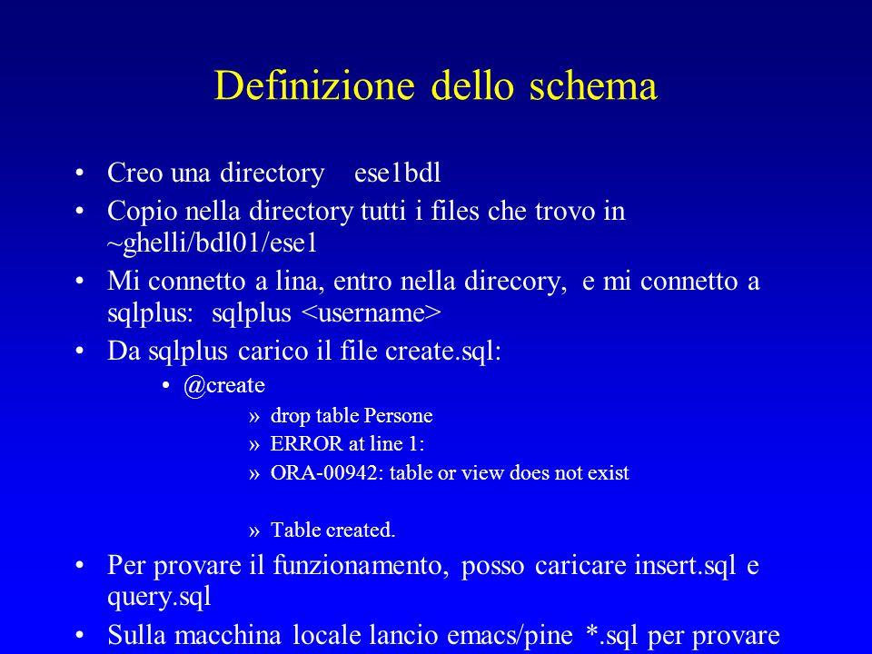 Definizione dello schema Creo una directory ese1bdl Copio nella directory tutti i files che trovo in ~ghelli/bdl01/ese1 Mi connetto a lina, entro nella direcory, e mi connetto a sqlplus: sqlplus Da sqlplus carico il file create.sql: @create »drop table Persone »ERROR at line 1: »ORA-00942: table or view does not exist »Table created.