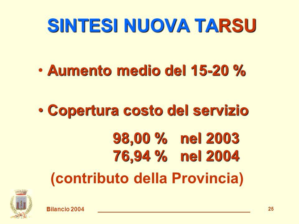 Bilancio 2004 _______________________________________________ 26 OBIETTIVO LA STESSA QUANTITÀ E QUALITÀ DI SERVIZI CONTENENDO LA SPESA CONTENENDO LA SPESA