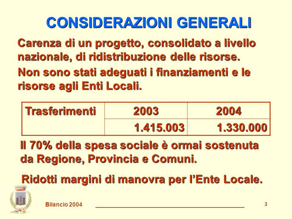 Bilancio 2004 _______________________________________________ 4 LE SCELTE Si aumenta la tassa sulla pubblicità e l'occupazione del suolo pubblico Non si incrementano le tariffe dei servizi alla persona Non si riduce il livello dei servizi al cittadino, anzi si cerca di migliorarlo Si aumenta la TARSU