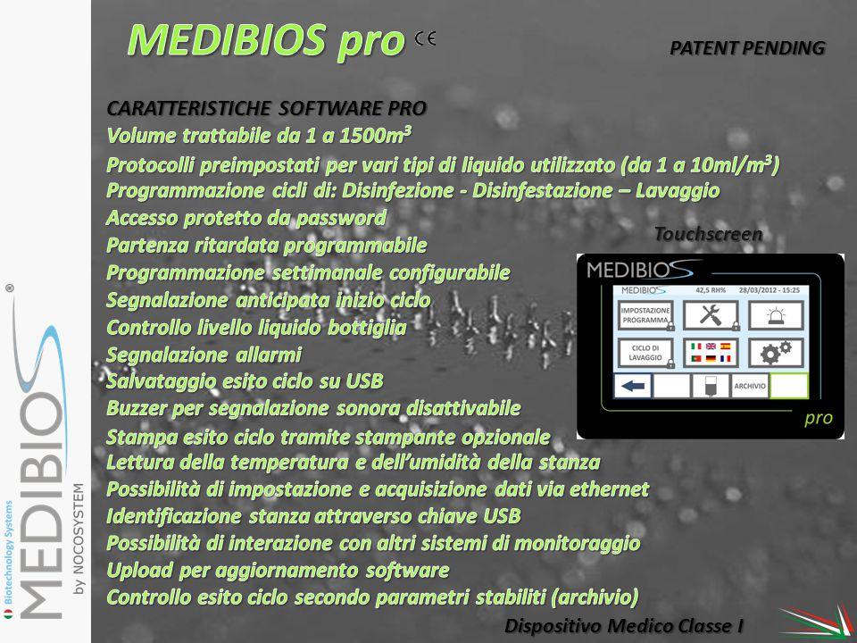 Dispositivo Medico Classe I Touchscreen PATENT PENDING CARATTERISTICHE SOFTWARE PRO