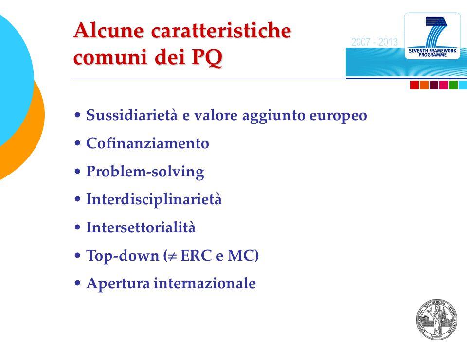 Sussidiarietà e valore aggiunto europeo Cofinanziamento Problem-solving Interdisciplinarietà Intersettorialità Top-down (  ERC e MC) Apertura internazionale Alcune caratteristiche comuni dei PQ