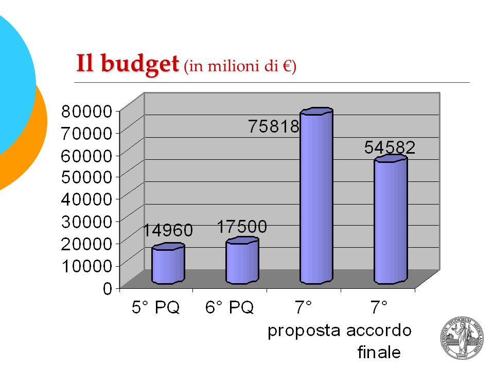 Il budget Il budget (in milioni di €)