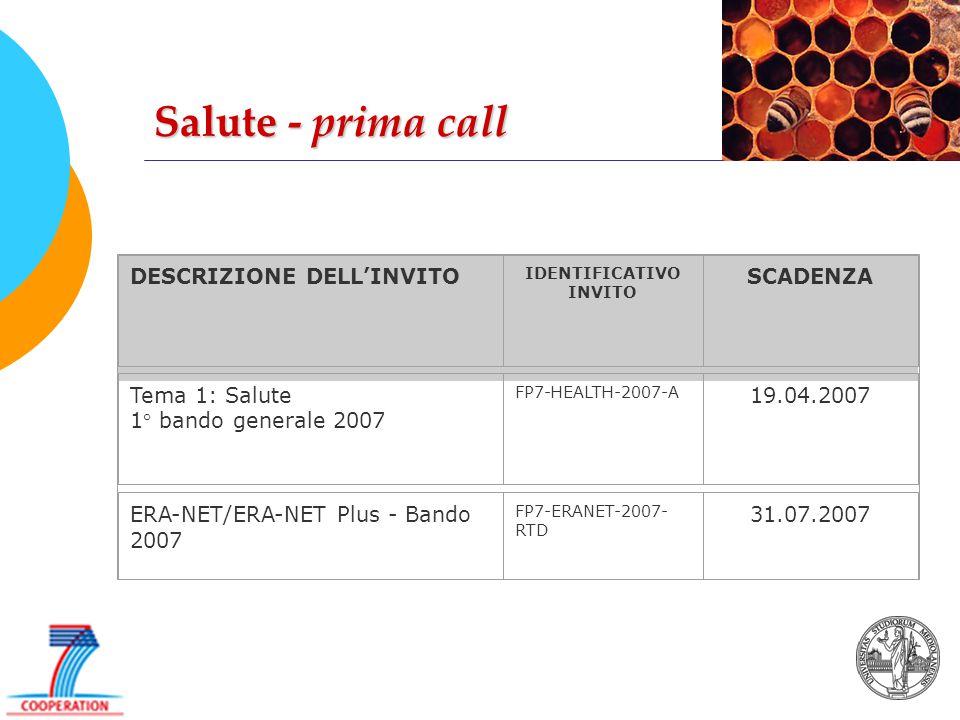 Salute - prima call DESCRIZIONE DELL'INVITO IDENTIFICATIVO INVITO SCADENZA Tema 1: Salute 1° bando generale 2007 FP7-HEALTH-2007-A 19.04.2007 ERA-NET/ERA-NET Plus - Bando 2007 FP7-ERANET-2007- RTD 31.07.2007