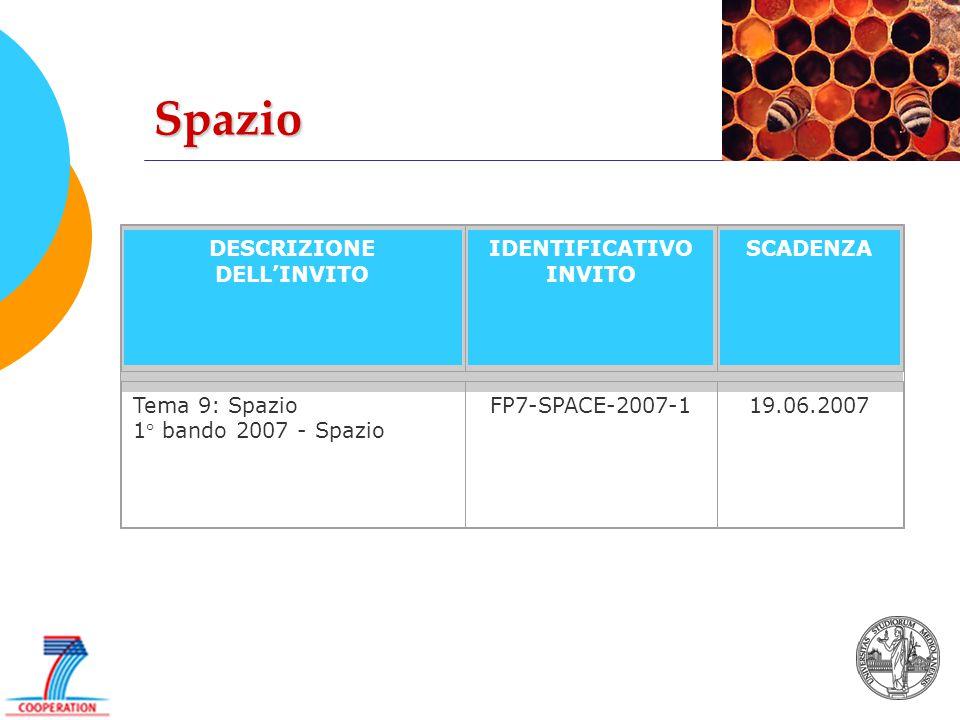 Spazio DESCRIZIONE DELL'INVITO IDENTIFICATIVO INVITO SCADENZA Tema 9: Spazio 1° bando 2007 - Spazio FP7-SPACE-2007-119.06.2007