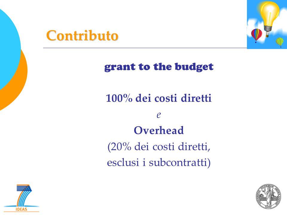 Contributo grant to the budget 100% dei costi diretti e Overhead (20% dei costi diretti, esclusi i subcontratti)