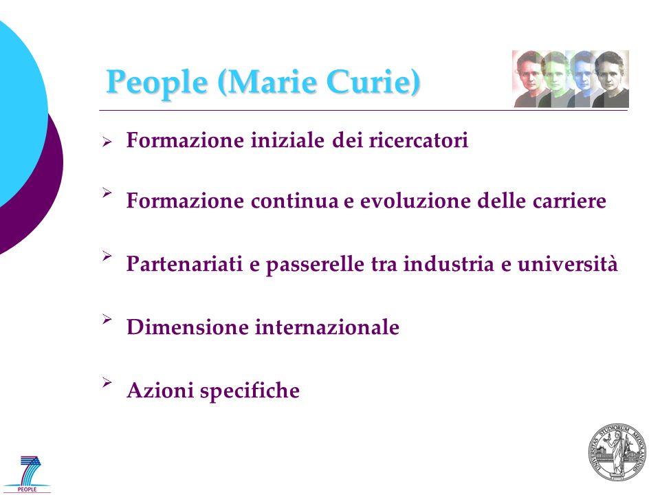  Formazione iniziale dei ricercatori  Formazione continua e evoluzione delle carriere  Partenariati e passerelle tra industria e università  Dimensione internazionale  Azioni specifiche People (Marie Curie)