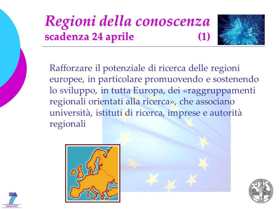 Regioni della conoscenza scadenza 24 aprile (1) Rafforzare il potenziale di ricerca delle regioni europee, in particolare promuovendo e sostenendo lo sviluppo, in tutta Europa, dei «raggruppamenti regionali orientati alla ricerca», che associano università, istituti di ricerca, imprese e autorità regionali