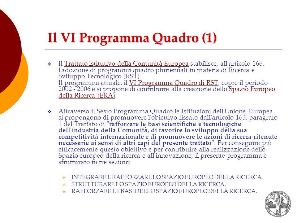  Il Trattato istitutivo della Comunità Europea stabilisce, all articolo 166, l adozione di programmi quadro pluriennali in materia di Ricerca e Sviluppo Tecnologico (RST).