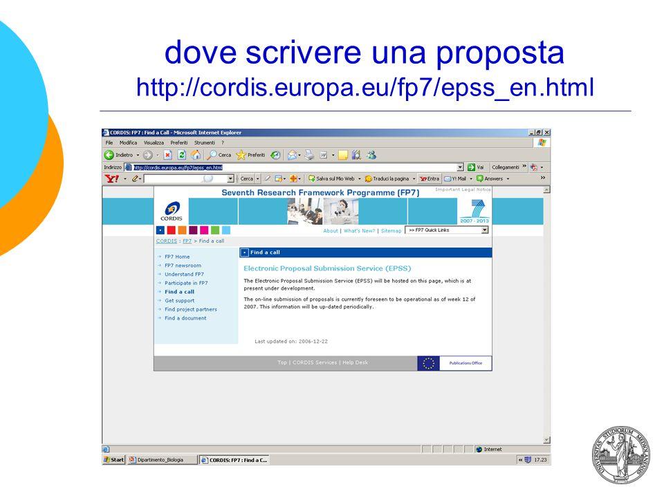 dove scrivere una proposta http://cordis.europa.eu/fp7/epss_en.html