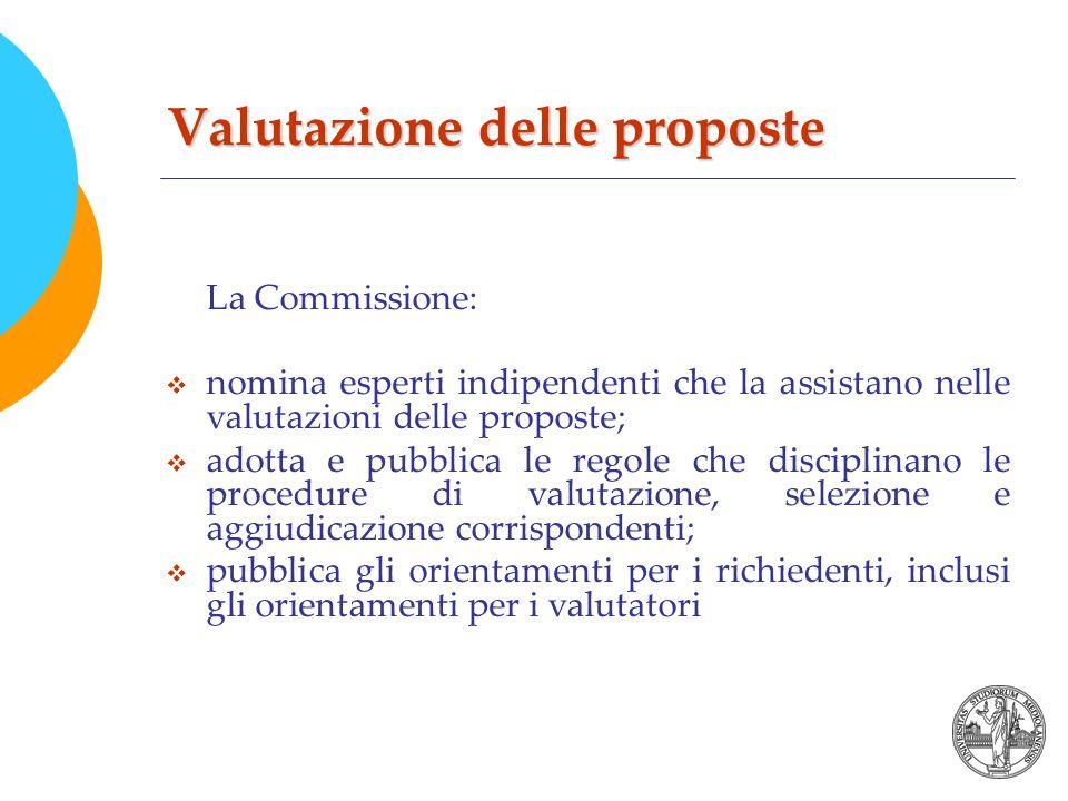 Valutazione delle proposte La Commissione:  nomina esperti indipendenti che la assistano nelle valutazioni delle proposte;  adotta e pubblica le regole che disciplinano le procedure di valutazione, selezione e aggiudicazione corrispondenti;  pubblica gli orientamenti per i richiedenti, inclusi gli orientamenti per i valutatori