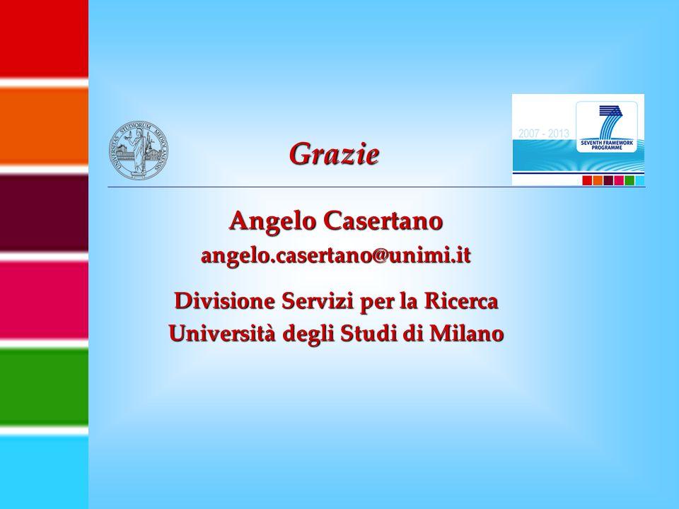 Angelo Casertano angelo.casertano@unimi.it Divisione Servizi per la Ricerca Università degli Studi di Milano Grazie