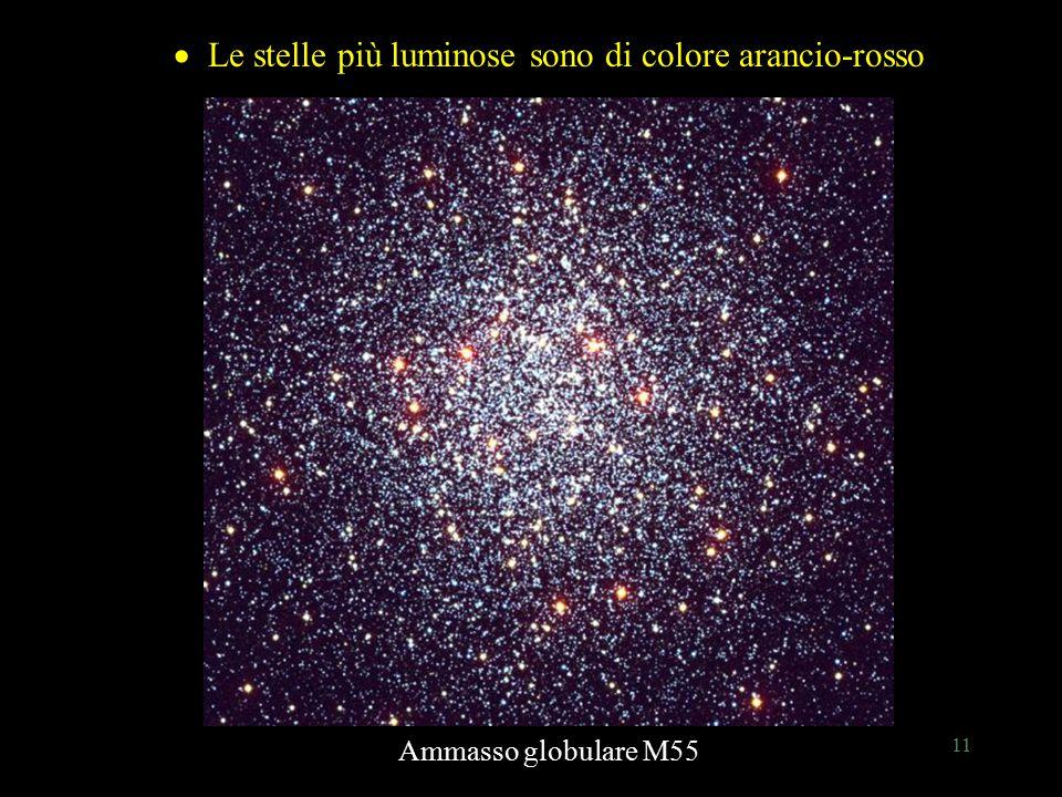 11 Le stelle più luminose sono di colore arancio-rosso  Le stelle più luminose sono di colore arancio-rosso Ammasso globulare M55