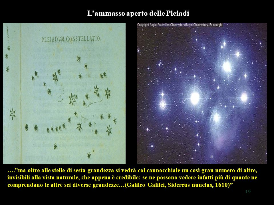 """19 L'ammasso aperto delle Pleiadi ….""""ma oltre alle stelle di sesta grandezza si vedrà col cannocchiale un così gran numero di altre, invisibili alla v"""