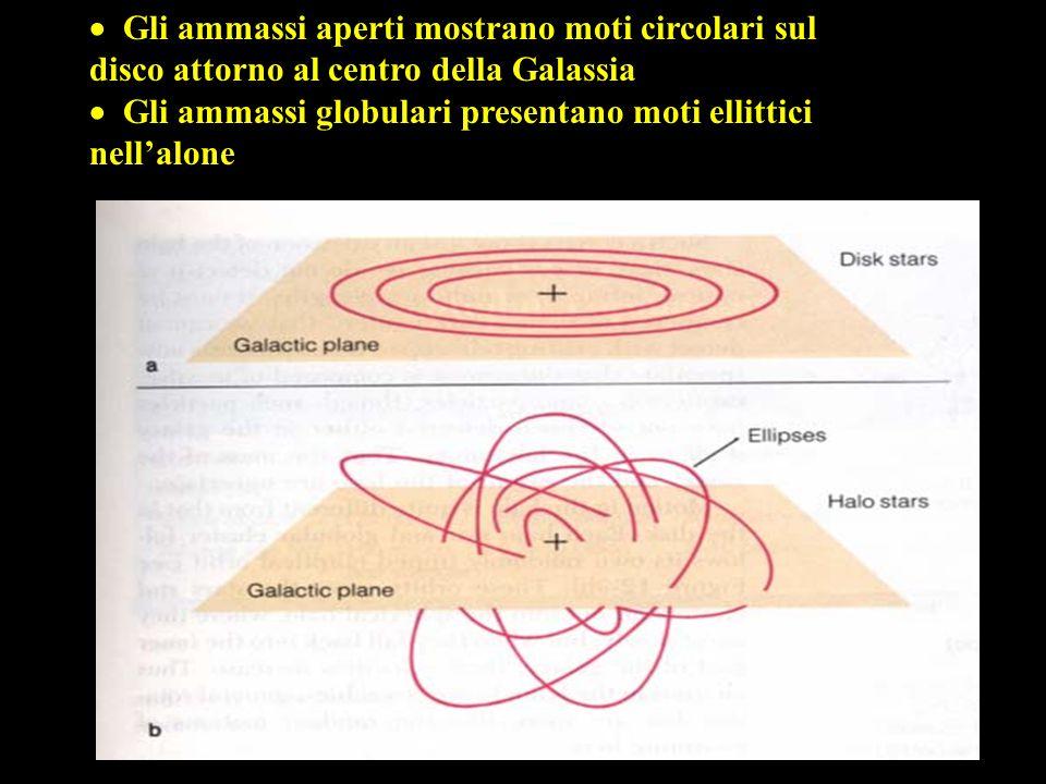 23 Gli ammassi aperti mostrano moti circolari sul  Gli ammassi aperti mostrano moti circolari sul disco attorno al centro della Galassia Gli ammassi