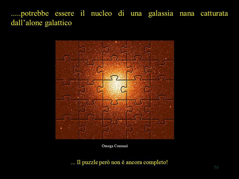 56.....potrebbe essere il nucleo di una galassia nana catturata dall'alone galattico Omega Centauri... Il puzzle però non è ancora completo!