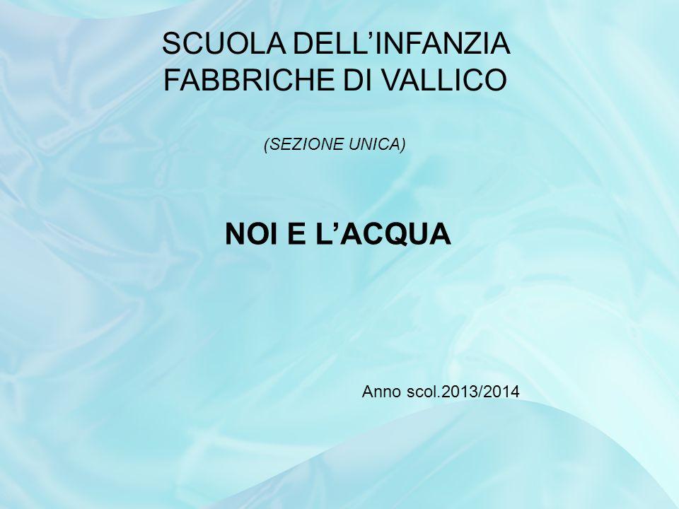 SCUOLA DELL'INFANZIA FABBRICHE DI VALLICO (SEZIONE UNICA) NOI E L'ACQUA Anno scol.2013/2014
