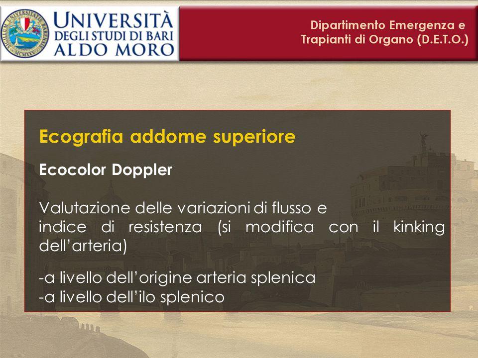 Ecografia addome superiore Ecocolor Doppler Valutazione delle variazioni di flusso e indice di resistenza (si modifica con il kinking dell'arteria) -a