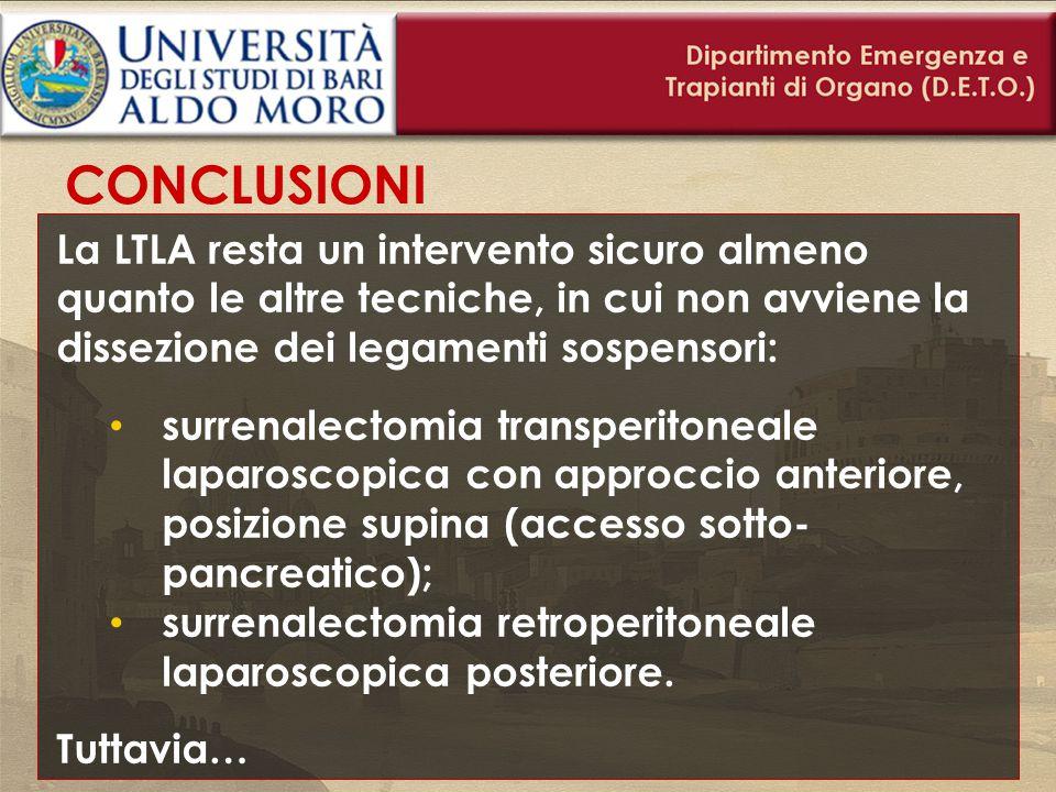 CONCLUSIONI La LTLA resta un intervento sicuro almeno quanto le altre tecniche, in cui non avviene la dissezione dei legamenti sospensori: surrenalect