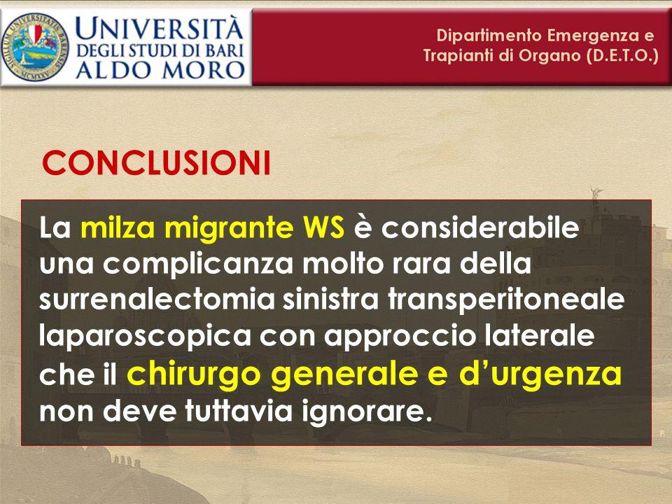 CONCLUSIONI La milza migrante WS è considerabile una complicanza molto rara della surrenalectomia sinistra transperitoneale laparoscopica con approcci