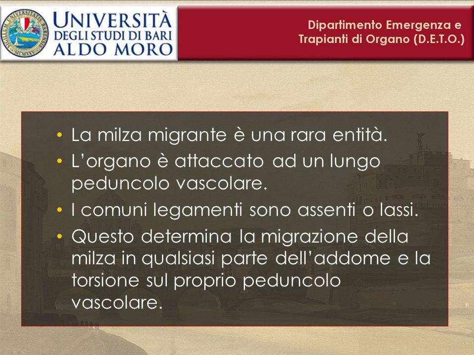 La milza migrante è una rara entità. L'organo è attaccato ad un lungo peduncolo vascolare. I comuni legamenti sono assenti o lassi. Questo determina l
