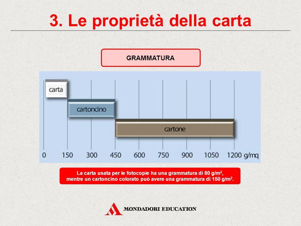 3. Le proprietà della carta LE PROPRIETÀ FISICHE Grammatura Igroscopicità Conducibilità termica ed elettrica Peso in g di un foglio con una superficie