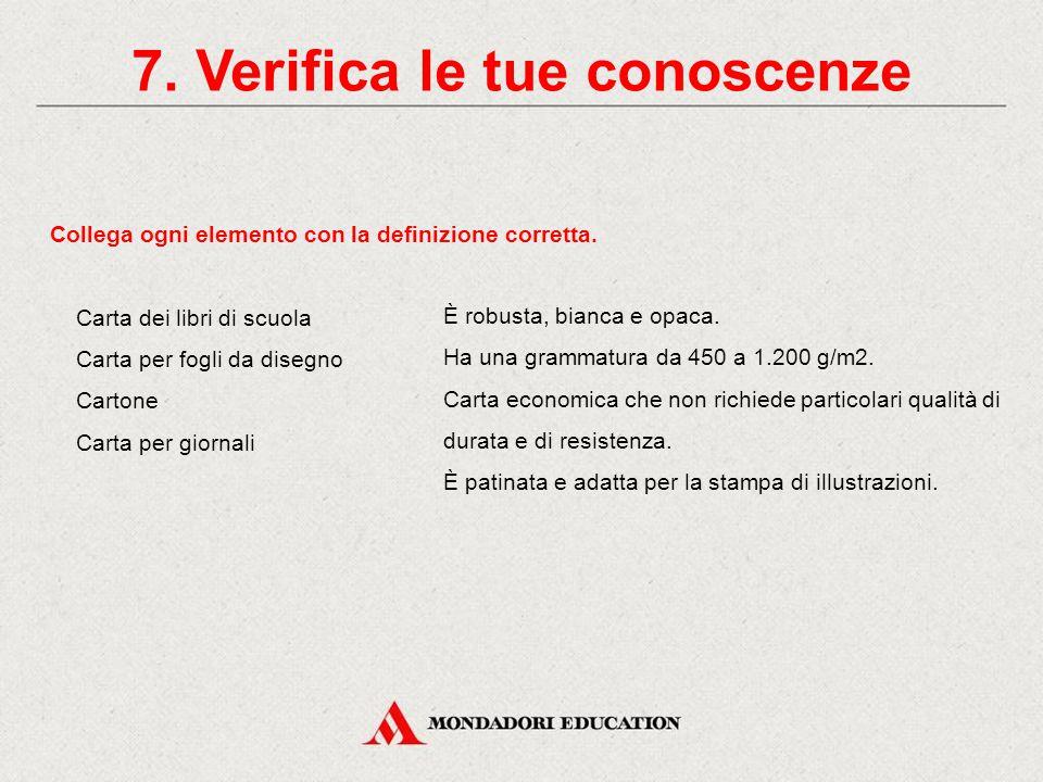 7. Verifica le tue conoscenze Identifica, tra quelli elencati, i materiali utilizzati per produrre la carta (5 risposte). Bauxite. Stracci. Carta usat