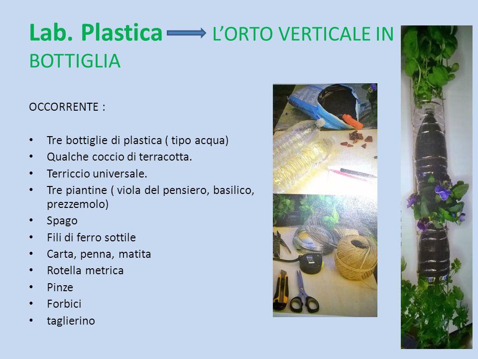 Lab. Plastica L'ORTO VERTICALE IN BOTTIGLIA OCCORRENTE : Tre bottiglie di plastica ( tipo acqua) Qualche coccio di terracotta. Terriccio universale. T