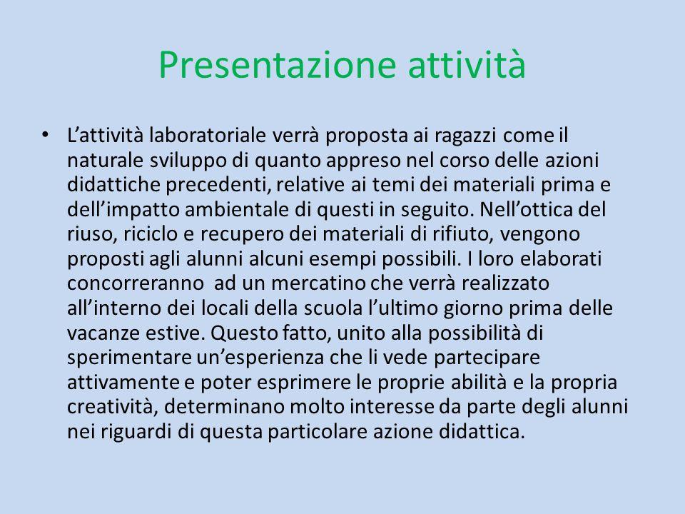 Presentazione attività L'attività laboratoriale verrà proposta ai ragazzi come il naturale sviluppo di quanto appreso nel corso delle azioni didattich