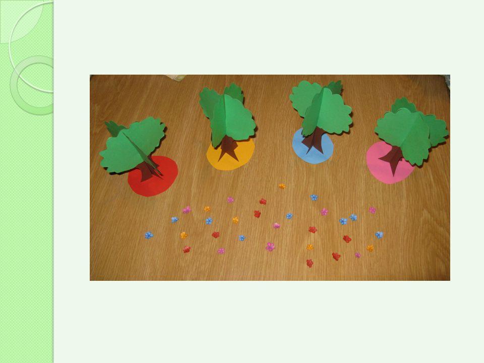 Vengono ritagliati e colorati i fiori mancanti per i quattro amici alberi, in modo tale che possano tornare a sorridere.
