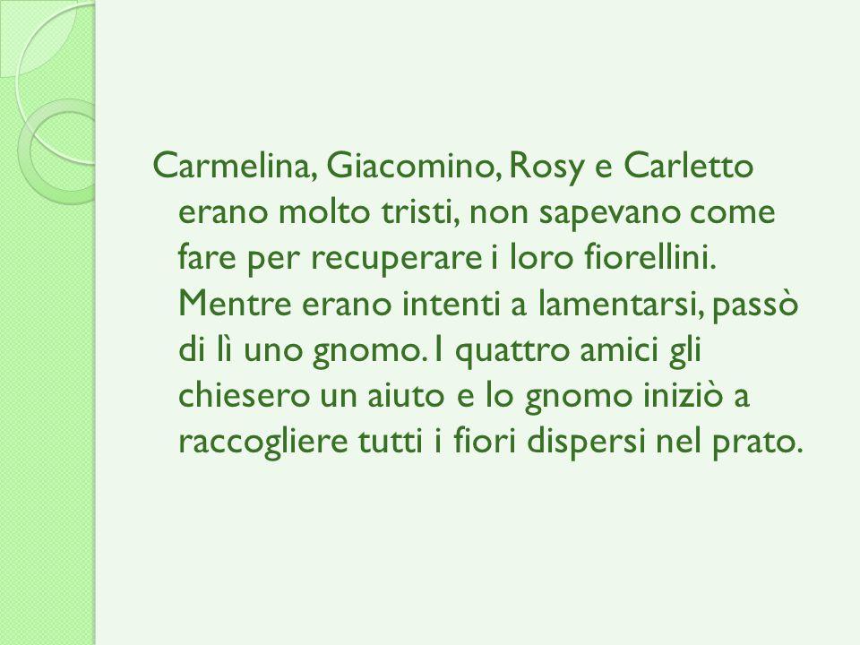 Carmelina, Giacomino, Rosy e Carletto erano molto tristi, non sapevano come fare per recuperare i loro fiorellini. Mentre erano intenti a lamentarsi,