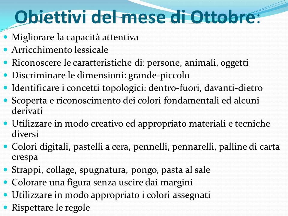 Obiettivi del mese di Ottobre: Migliorare la capacità attentiva Arricchimento lessicale Riconoscere le caratteristiche di: persone, animali, oggetti D